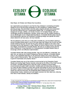 Complete Streets Policy — Organizational Letter Of Support —7 Oct 2013