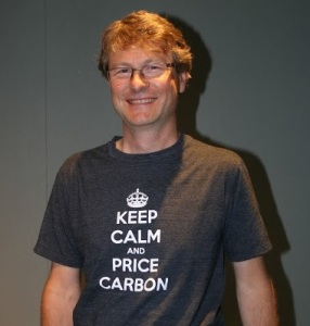 "David Chernushenko in a ""keep calm and price carbon"" tee shirt"